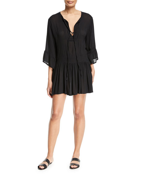 Agata Long-Sleeve Short Coverup Dress