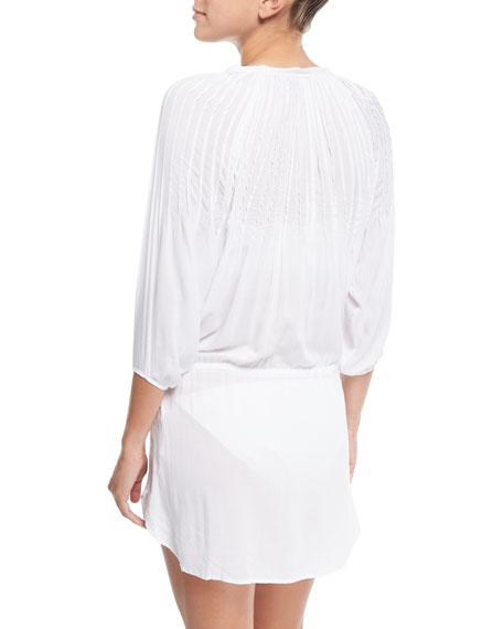 Sara Split-Neck Caftan Coverup Dress w/ Pintucking
