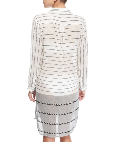 Button-Front Striped Cotton Coverup Tunic