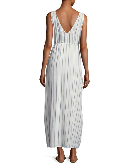 Grace Sleeveless Striped Cotton Wrap Maxi Dress