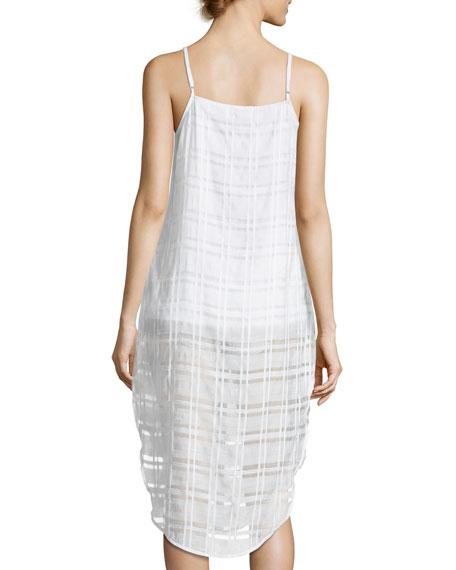 Flora Button-Front Plaid Gauze Coverup Dress