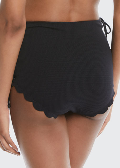 Palm Springs Tie-Sides High-Rise Textured Swim Bottoms