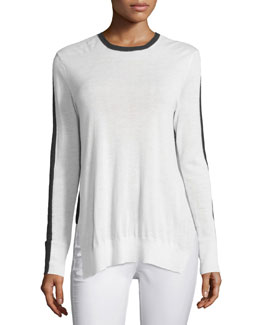 Verity Two-Tone Cashmere Pullover Sweater, Ivory