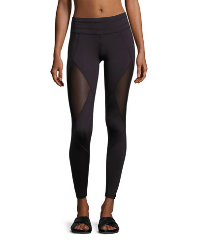 Walnut Mesh-Panel Sport Tights