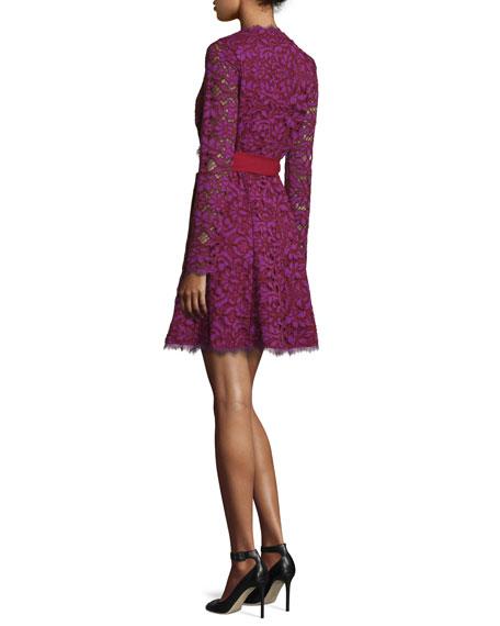 Shaelyn Lace Long-Sleeve Wrap Dress