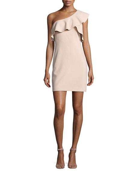 Jerard One-Shoulder Ruffle Ponte Dress