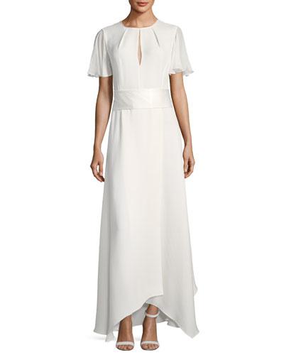 Flutter-Sleeve High-Neck Gown