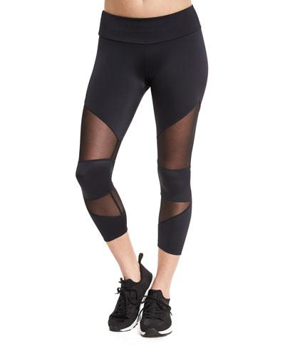 Cutout Capri Sport Leggings W/Mesh Insets, Black