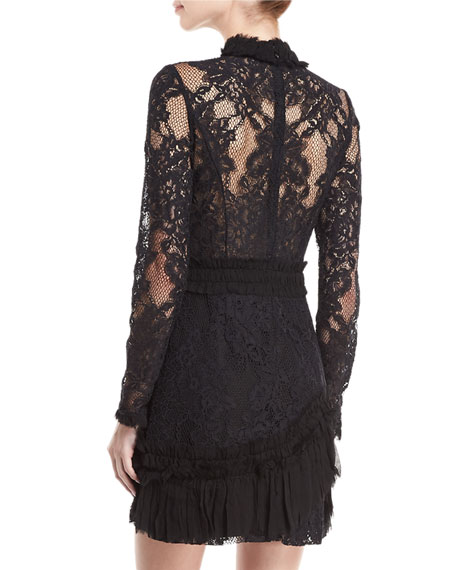 Wilhemina Mock-Neck Long-Sleeve Lace Mini Dress