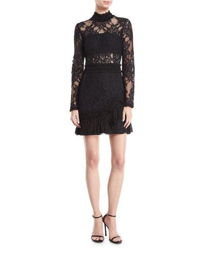 Wilhemina Mock-Neck Long-Sleeve Lace Mini Dress