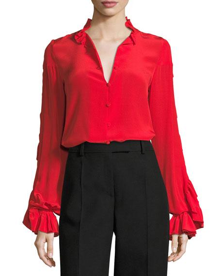 Rocio Silk Ruffle-Sleeve Top
