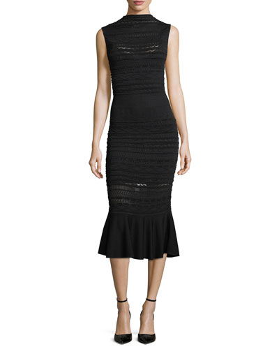 Rilla High-Neck Sleeveless Fitted Lace Dress