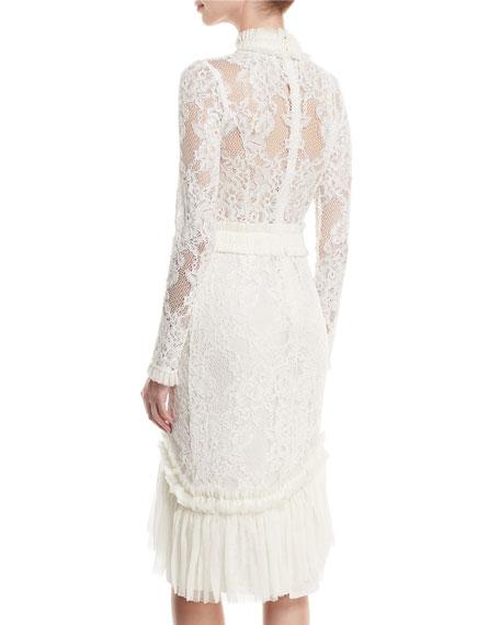 Anabella Mock-Neck Long-Sleeve Lace Sheath Dress