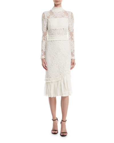 Anabella Mock-Neck Long-Sleeve Lace Sheath Dress