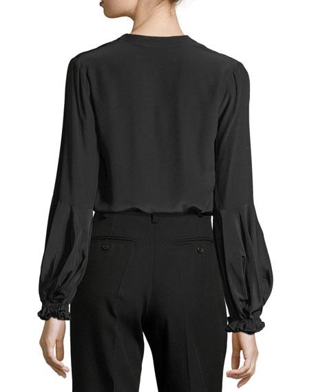 Jalen Split-Neck Long-Sleeve Silk Blouse