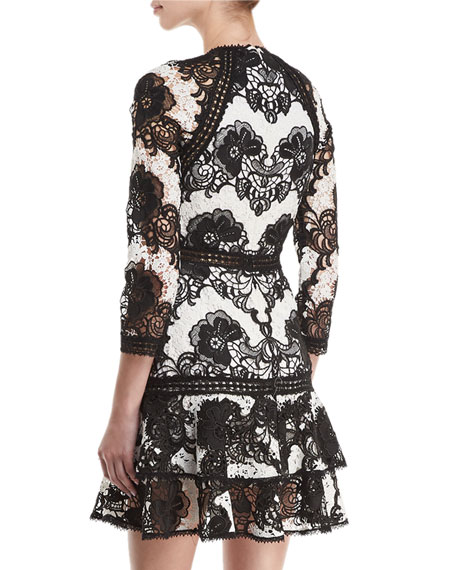 Sheena High-Neck Fit-and-Flare Lace Dress