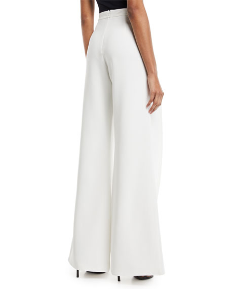 Tonya Pleated Wide-Leg Crepe Pants