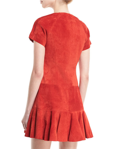 Jaelynn V-Neck Zip-Front Suede Dress