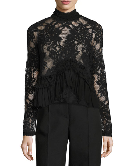 Karenza Long-Sleeve Lace Top with Ruffled Trim