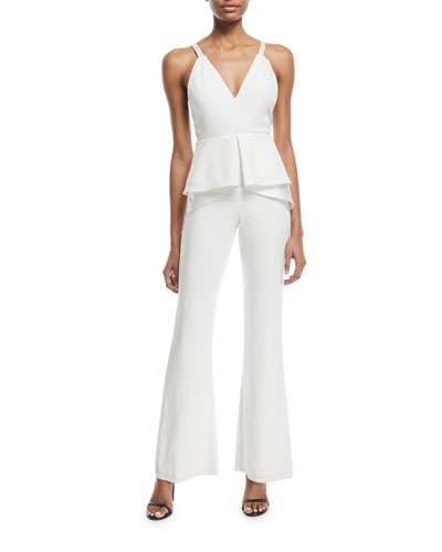 V-Neck Sleeveless Peplum Flared-Leg Sateen Jumpsuit
