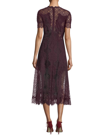 Plunging Short-Sleeve Lace Midi Dress