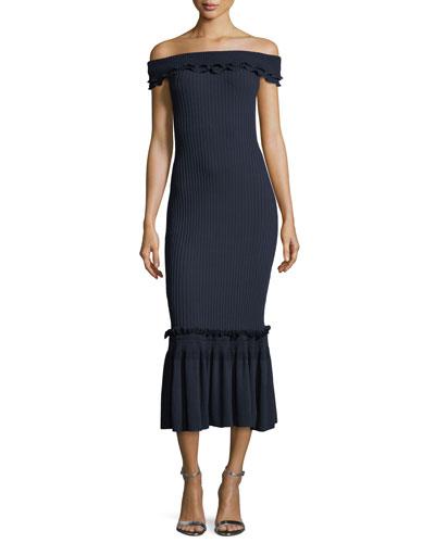 Off-the-Shoulder Ribbed Midi Dress w/ Ruffled Trim
