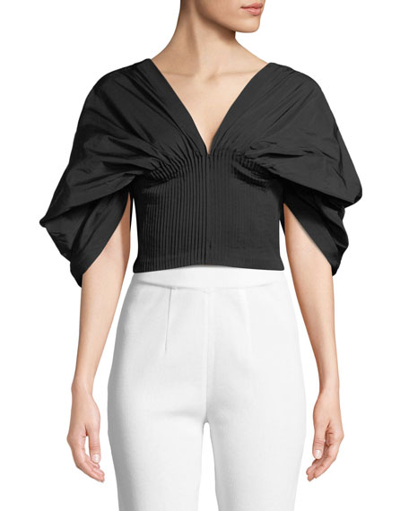 Ruched Taffeta Draped-Sleeve Bustier Top