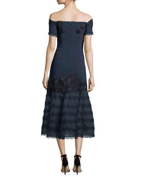 Off-the-Shoulder Trumpet Dress w/ Embroidered Lace
