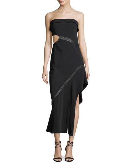 Strapless Side-Cutout Long Dress with Leather Trim