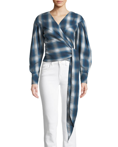 Washed Plaid Blouson-Sleeve Wrap Top