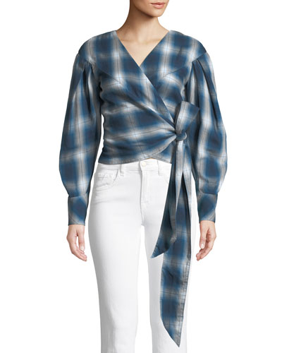 Washed Plaid Blouson-Sleeve Wrap Top