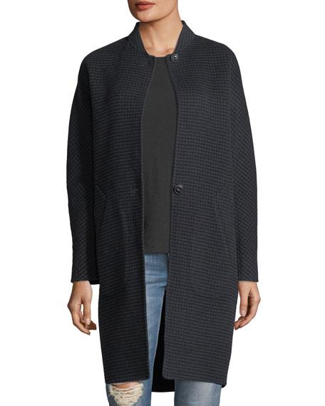 Darwen Button-Front Houndstooth Wool Coat