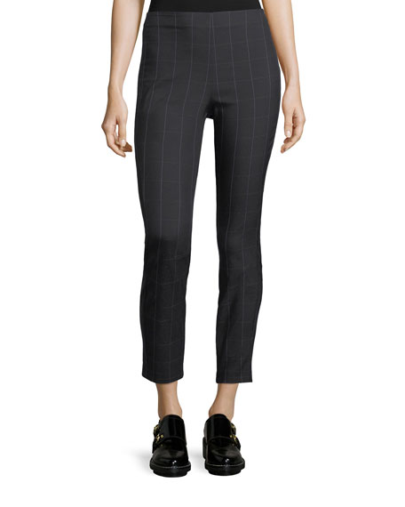 Simone Plaid Skinny-Leg Cropped Pants