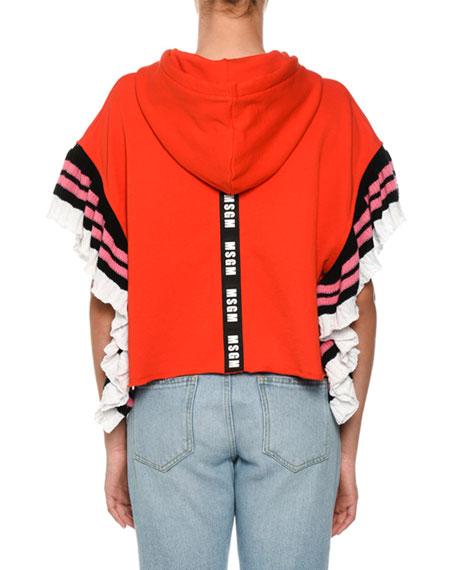 Ruffle Hooded Sweatshirt w/ Logo Strip