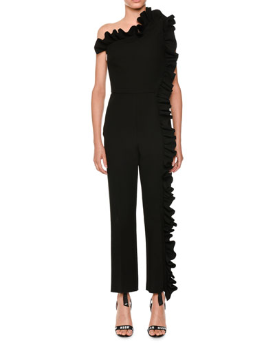 Asymmetric Ruffle-Trim Jumpsuit