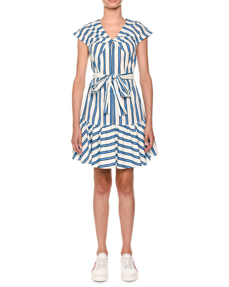 Twist-Front Belted Striped Cotton Shirtdress
