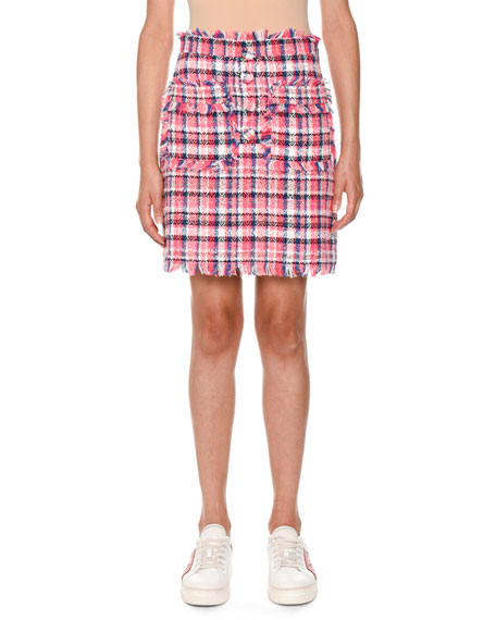 Frayed Plaid Tweed Skirt