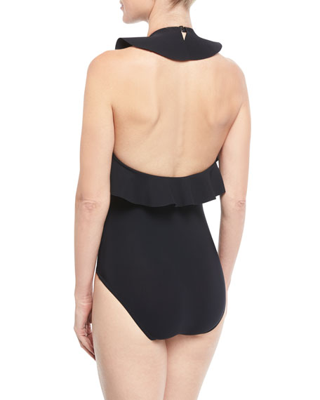 Zaha High-Neck Open-Back One-Piece Swimsuit w/ Frills
