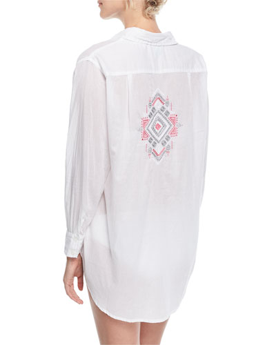 Button-Front Long-Sleeve Gauze Coverup Shirt w/ Embroidery