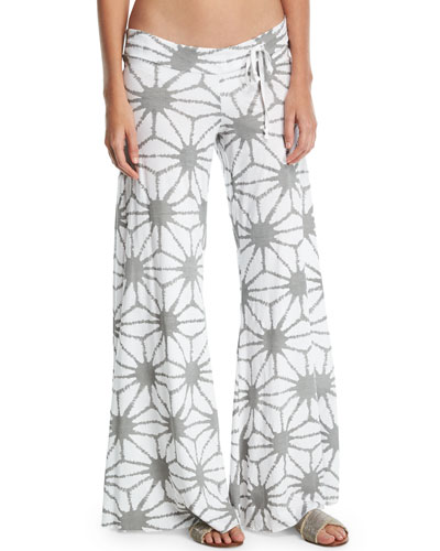 Wide-Leg Printed Beach Pants