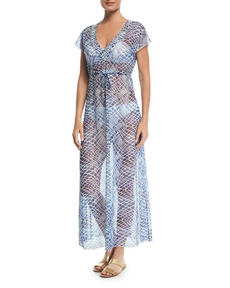 V-Neck Sheer Mesh Printed Maxi Dress