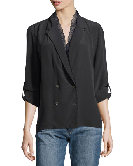 Frances Double-Breasted Silk Jacket Blouse with Lace Trim