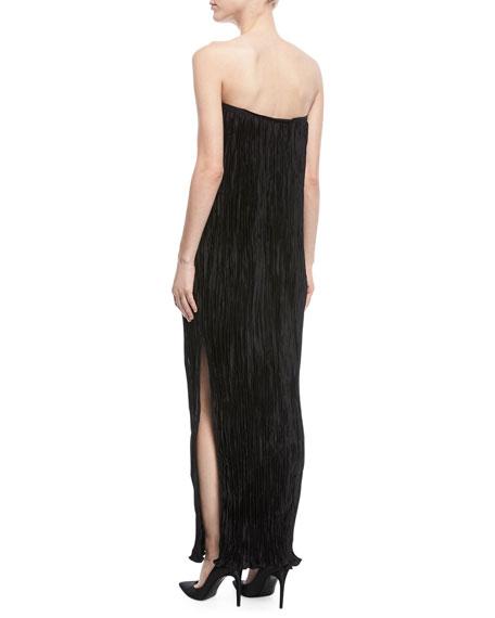 Denver Strapless Pleated Side-Slit Long Cocktail Dress