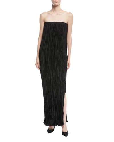Denver Strapless Pleated Side-Slit Long Cocktail Dress