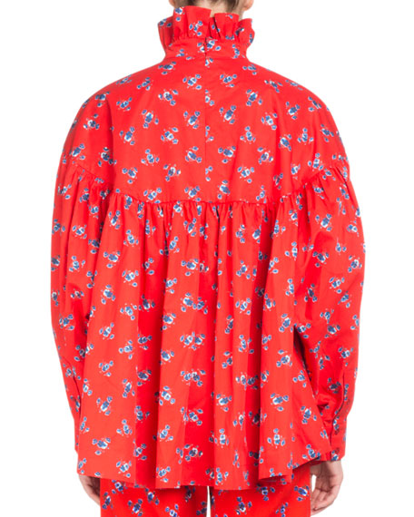 La Collection Memento N°1 Floral Ruffle-Neck Empire Top