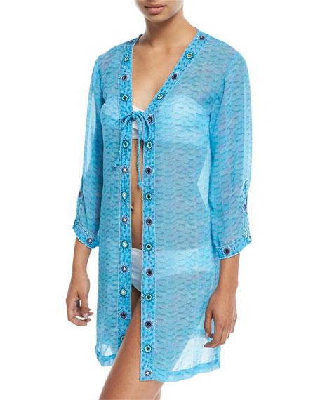 LETARTE Long-Sleeve Printed Tie-Front Georgette Coverup in Blue