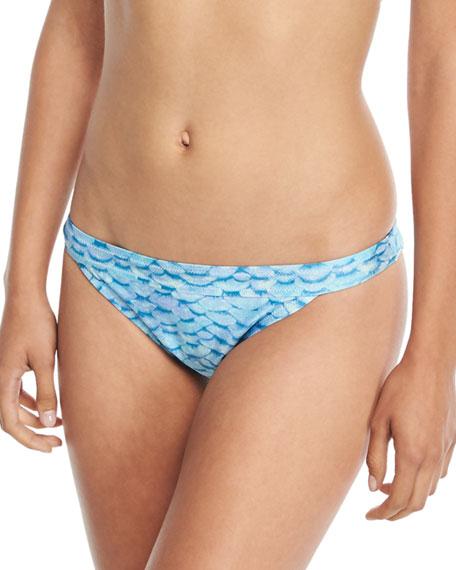 LETARTE Printed Hipster Swim Bikini Bottom in Blue