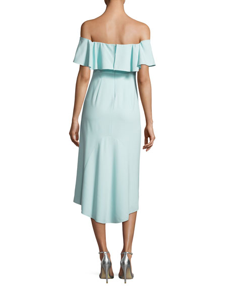 Ruffled Off-the-Shoulder Flounce Cocktail Dress