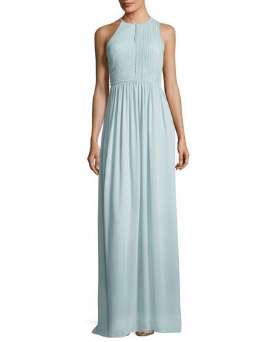 Fortuny Plissé Back Drape Evening Gown