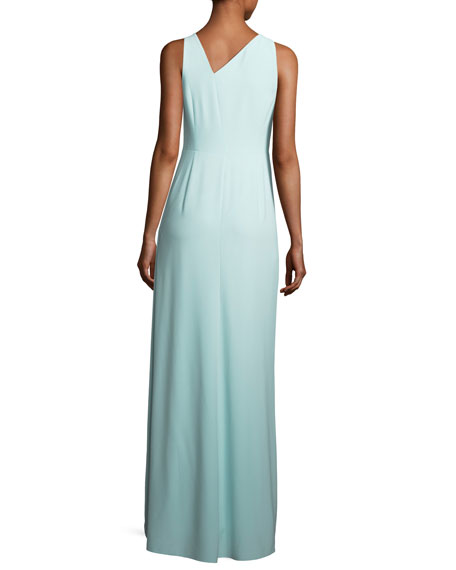 Sleeveless Asymmetric-Neck Evening Gown w/ Flowy Drape
